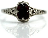 Antique Red Garnet Ring Art Deco .75ct Filigree 14Kt White Gold Garnet Cushion Cut Ring 1930s Antique Ring Size 4.75!