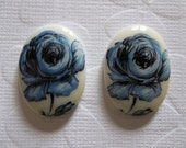 Vintage Decal Picture Stones - Blue Rose on White Cameo -  25 X 18mm Glass Cabochons - Qty 4