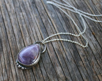 50% OFF SALE - Large Amethyst Teardrop Crystal Oxidized Sterling Silver Necklace