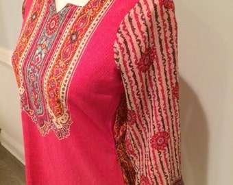 Vintage India Exquisite Extra-long Cotton Tunic with Sheer Gauze Sleeves - Deep Pink / Multi Patterned