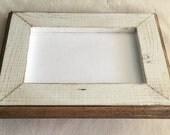 8x8 Picture Frame, Rustic Weathered White With Routed Edges
