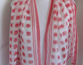 "Beautiful White Red Dot Silk Scarf - 17"" x 48"" Long - OMG My Fav"