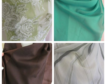 Assorted Lot of 4 Long Ladies Fashion Scarves - Green - Sheer - Brown (lot 1)