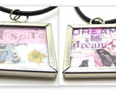 Square Collage Pendant Double Sided Necklace, Inspire, Dream a little dream, collage pendant, square pendant, Muse