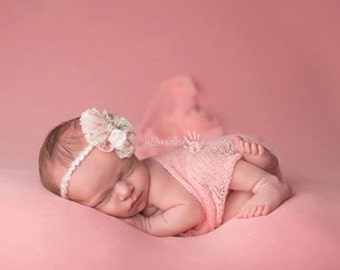 Pink knit stretch wrap with matching tie back, wrap and headband set, newborn photo prop, baby girl prop, knit wrap, baby headband