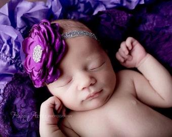 Purple Headband, Baby Girl Headband, Newborn Headband, Newborn Photo Prop, Photography Prop, Girl Headband