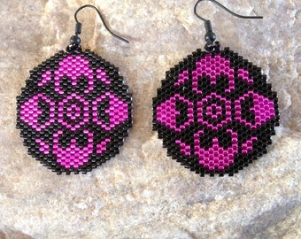 Hot Pink Round Southwest Peyote Beaded Earrings