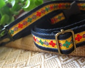 Boho Belt Black with Yellow Folk Jacquard Embroidery Trims - Free Size for Kids and Adults Adjustable