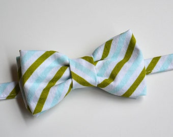 Little Boys Bowtie - Olive and Light Blue Stripe - Graduation, Wedding, Ringbearer, Holiday