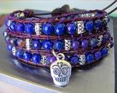 Purple Fire Dagon Veins Agate Triple Wrap Bracelet