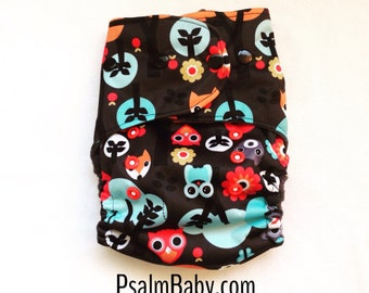 All in Two - One Size - American Made Cloth Diaper - Foxes and Owls - PUL / TPU - Woodland Forest Friends