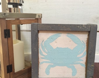 Crab silhouette wood sign with frame