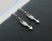 Tiny arrow earrings, sterling silver Arrow dangle earrings