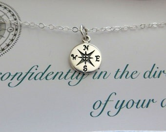 Go confidently in the direction of your dreams, compass necklace, college graduation gift, high school graduation gift for graduate
