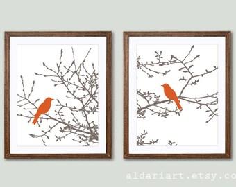 Birds on Branches Art Prints - Modern Birds Art - Set of 2 -  Birds on Magnolia Tree - Rustic Birds - Brown and Pupmkin Orange - Aldari Art