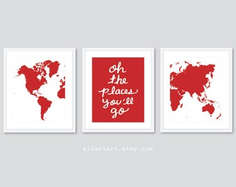 World Map Art Prints - Set of 3 Prints - Nursery Map Art - Oh The Places You'll Go Quote - Nursery Decor Nursery prints Nursery Wall Art
