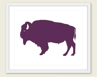 Buffalo Art Print - Buffalo Wall Art - Modern Buffalo Art - Rustic Buffalo Print - Purple Eggplant Buffalo Art - Buffalo Poster - Aldari Art