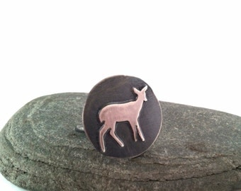 Sterling Silver Deer Ring - Habakkuk's Prayer Ring - Size 7