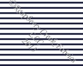 Navy Blue and White Stripe 4 Way Stretch Jersey Knit Fabric, Club Fabrics