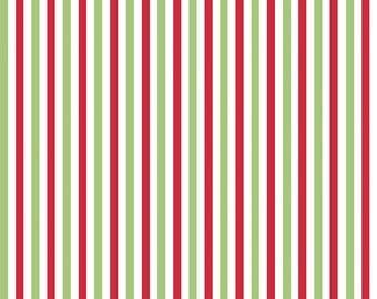 Small Red and Green Striped Christmas Jersey Knit Fabric From Riley Blake Basics, 1 Yard
