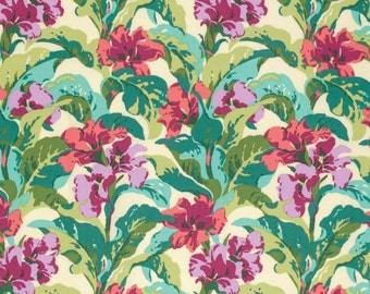 Coral Green Aqua and Purple Floral Cotton Fabric, Bright Heart By Amy Butler for Free Spirit, Tropi Canna in Coral, 1 yard