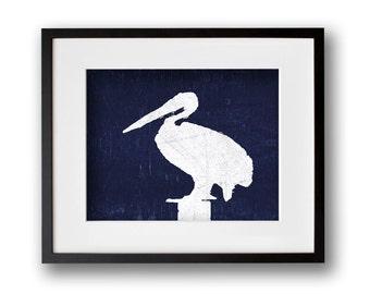 Indigo Blue Pelican Wall Art 8x10 or 11x14 Graphic Print