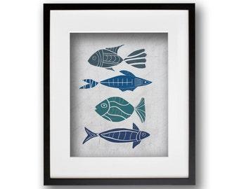 Four Fish Boho Wall Art 8x10 or 11x14 Graphic Print