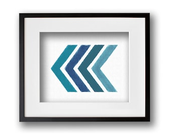 Turquoise Painted Chevron Wall Art 8x10 or 11x14 Graphic Print