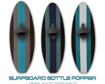 Surboard Wall Mount Bottle Opener you Choose Colors