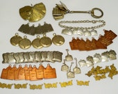 Lot of Ten Commandment and Love charm / pendants / key chains - Goldtone, copper and silvertone - Destash lot - Rosary - Jewelry supply