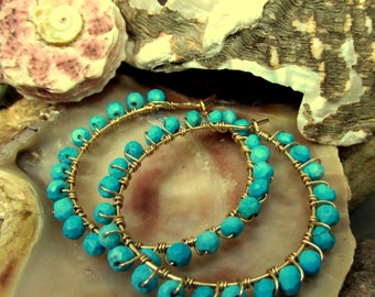 Turquoise and 14k Gold Filled Hoops ~ Artisan Earrings Handmade Wire Wrapped, Faceted Small Turquoise