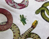 Custom order two yards SNAKES by Design Legacy screenprint fabric