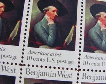 American Raphael Full Sheet of 50 Vintage UNUsed US Postage Stamps 10c 1975 Benjamin West American Artist Painter Save the Date Fine Art UK