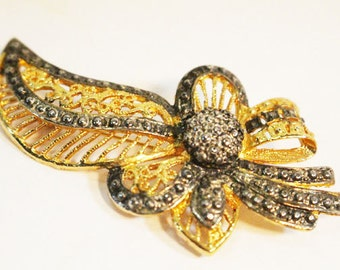 Vintage Brooch, Pin, Golden leaf and Bow with Silverish accents    - V