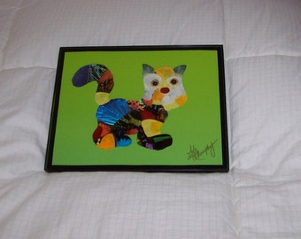 "Real Butterfly Wings Framed ""Kitty"" Collage"