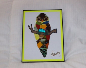 "Real  Butterfly Wings Framed  "" Adorable Owl ""  Collage"