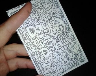 Day of the Dead sugar skull coloring book, dia de los muertos, mini coloring book