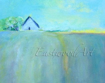 "Original Abstract Painting Green Yellow Blue Small Art ACEO  6 x 6 ""Up the Hill"""