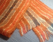 Rust, Slate blue and Cream Woven Mohair type yarn Scarf
