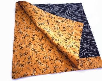 Brown gold black bicycle skateboard print cotton baby toddler blanket self binding reversible