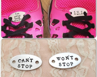 Shoe tags. Personalized hand stamped sneaker charms. hand stamped