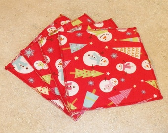Cloth Wipes- Christmas Print- Set of 10- 15001