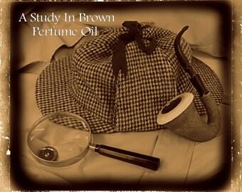 A Study in Brown Perfume Oil -  Sherlock Holmes Inspired, Copal, Tonka Bean, Oak Wood Smoke, Toasted Sugar