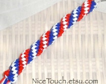 SUMMER SALE!!! Free Shipping or Save 20% ~ Patriotic Fireworks red, white, and blue woven gimp keychain ~ Made to Order