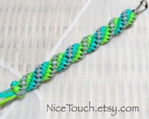 SUMMER SALE!!! Free Shipping or Save 20% ~ Under the Sea waterproof aqua, lime, and gray rexlace keychain ~ Made to Order