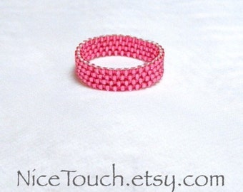 SUMMER SALE!!! Free Shipping or Save 20% ~ Little Hearts peyote novelty stackable glass beaded ring ~ Made to Order