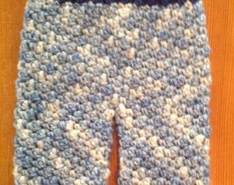 Crochet Baby Pants, Woolies, Longies, Extra Small, Infant, Blue,Denim, Cream, Knit Pants, Diaper Cover, Photo Prop, Baby Pants, Girl, Boy