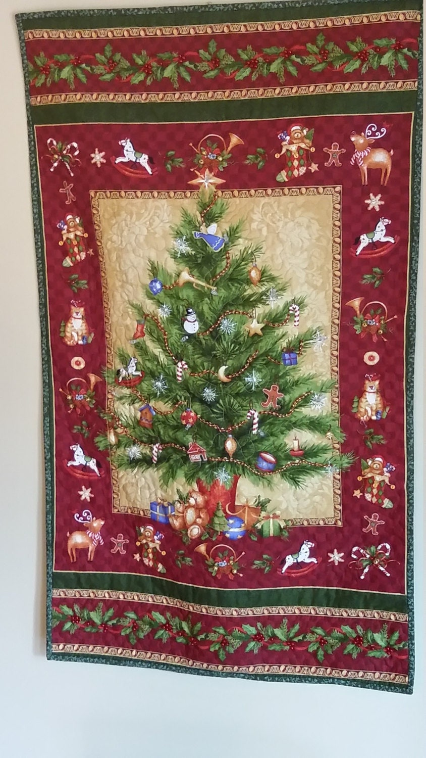 Custom order for joyce christmas tree quilted wall hanging