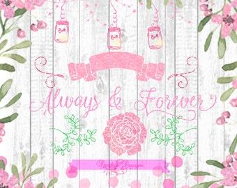 Pink Glitter Vintage Mason Jar Flourish Clipart, Banners PNG Floral Clipart Digital Clipart PNG, Wreath, Flourish, Fauna, Banner Clipart