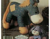 """1980s Bobbin the Horse Pattern, Snips the Dog, Stuffed Toys,Land of Pleasant Dreams, Calico Animals, McCalls No. 3212 Size 8-11""""(20-28cm)"""